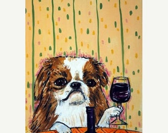 20% off Japanese Chin at the Wine Bar Dog Art Print