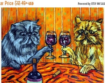 20% off Persian Cats at the Wine Bar Cat Art Print