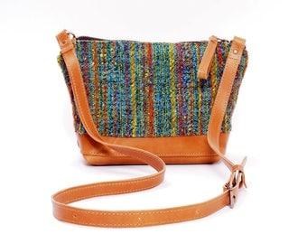 Tan Leather and Vintage Upholstery Fabric Cross Body Bag