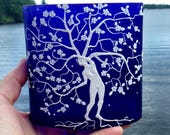 Tree Woman Tree of Life Blowing in The Breeze Sculpted with Polymer Clay onto a Recycled Glass Vase in Deep Cobalt Blue