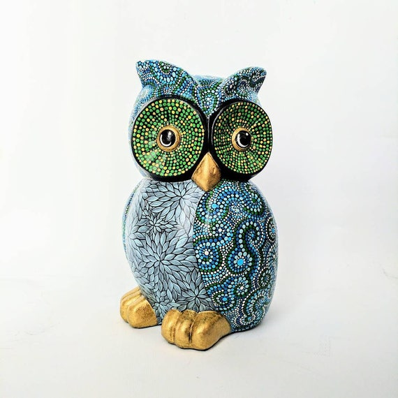 Owl hand painted large ceramic owl dot painting owl art