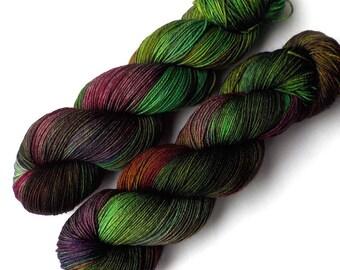 Handdyed Yarn Euro Sock Yarn SW Merino, Robin Hood, 435 yards