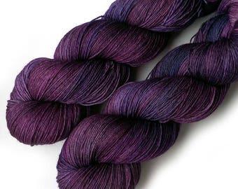 Hand Dyed Yarn Euro Fingering Yarn 820 yards Superwash Merino - Italian Plum