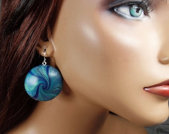 Polymer clay lentil earrings, blue and green swirls