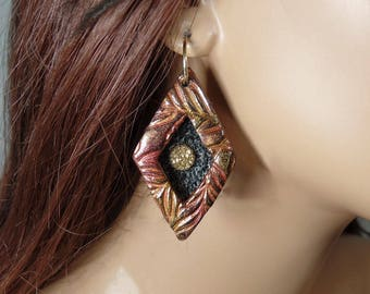 Polymer Clay earrings, shadow box style with gold titanium druzy