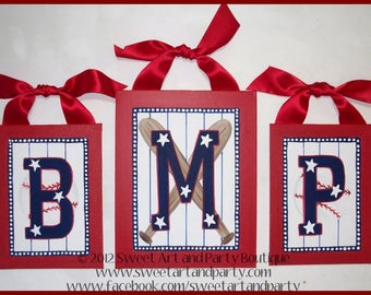 Baseball, Nursery wall art, nursery wall letter, Canvas wall letter, Hand Painted, Monogram wall art, Red, White, Blue, Personalized