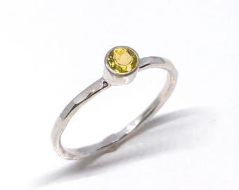Citrine Ring Sterling Silver - Citrine Solitaire Ring - Bezel Set Ring - Citrine Engagement Ring - Birthstone Ring - November Birthstone