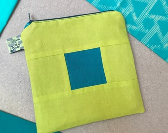 Handmade zippered cosmetic pouch
