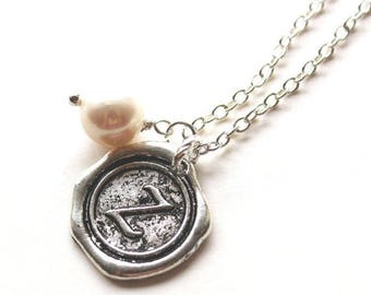 HALF PRICE SALE Alphabet personalized initial letter Z charm silver and white pearl necklace