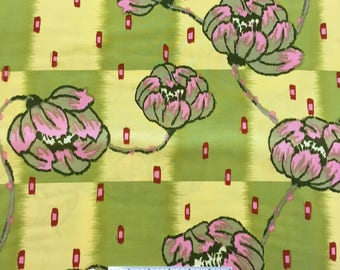 Amy Butler LOTUS WATER LILY Floral Lime Green Yellow PinkAb15 Quilt Quilt Fabric - Sold by the 1/2 Yard