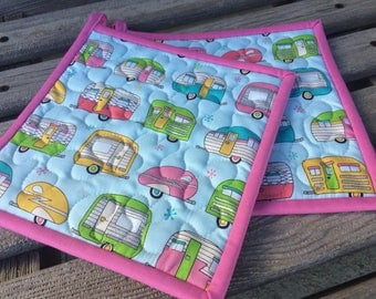 Quilted Pot Holders, Camping Pot Holders,  Housewarming Gift, Gift under 20