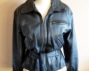 Unique 80s Black Leather Biker Jacket