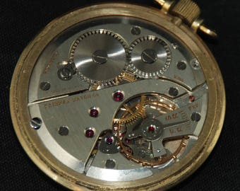 Vintage Antique Watch Pocket Watch Movement Dial Face Steampunk Altered Art QR 73