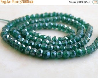 Deep Discount Sale Mystic Green Onyx Gemstone Rondelle AAA Emerald Green Faceted 3.5mm Full Strand 120 beads