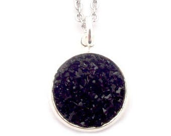 """Black Faux Druzy Necklace 18"""" Stainless Steel Chain"""