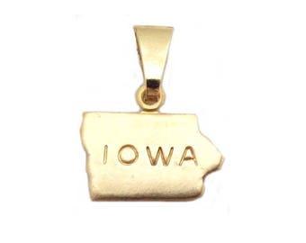 """Iowa State Necklace.  Raw Brass.  18"""" Gold Chain. Tiny."""