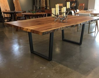 Large live edge dining table industrial steel legs spalted Sycamore wood must see