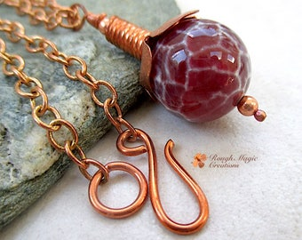 Dark Red Gemstone Pendant, Copper Chain Necklace, Cracked Crab Agate Stone, Adjustable Length Choker up to 20 Inch Matinee Necklace N294