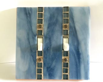 Blue Toggle Switch Cover, Stained Glass Mosaic, Decorative Switch Plate, Glass Light Switch Cover, Wall Switch, Switchplate Cover, 8890