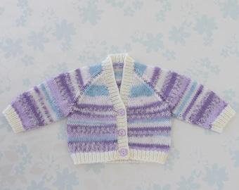 PREMIE Sweater / Cardigan - 32 to 42 week preemie, kangaroo care, NICU, unisex, machine washable baby yarn in shades of purple, blue & ivory