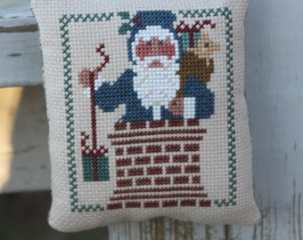 Christmas Ornament Santa in Chimney Completed Cross Stitch  Package Tie On Made To Order