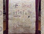 Spring Sampler-Primitive Stitchery Pattern-- E-PATTERN-Instant Download