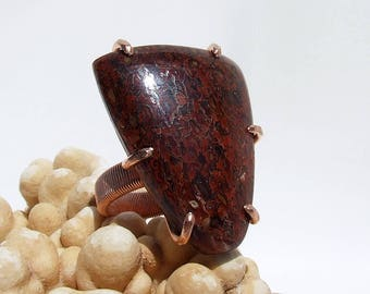 Dinosaur Bone Ring, fossil ring, natural stone ring, red stone ring, copper ring, prong set, large stone ring, hand cut cabochon