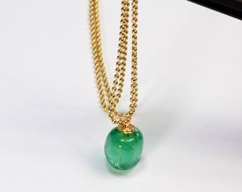 "14K Solid Yellow Gold 3.5CT Emerald Nugget Pendant Necklace 18"" Length"