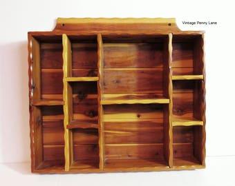 Handmade Vintage Shelf, Wood Curio Display, Wall Hanging, Miniatures Storage, Gem Display, Woodwork