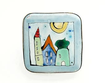 Vintage Poland Sterling 925 Brooch Hand Painted Terracotta