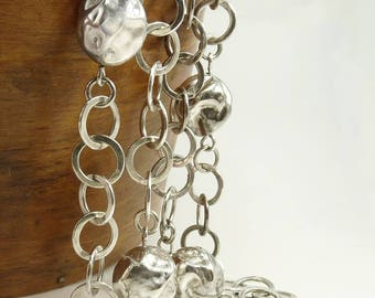 Vintage Sterling 925 Necklace Chunky Chain & Ball Modernist Design