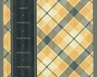 Vintage 1933 Vintage Plaid Book, General Foods All About Home Baking Cookbook, 1st ed., Yellow and Black Plaid Binding