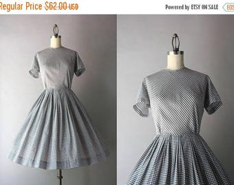 STOREWIDE SALE 1960s Dress / Vintage 50s 60s Gingham Day Dress / 1950s Gray and White Checked Dress S small 27 waist