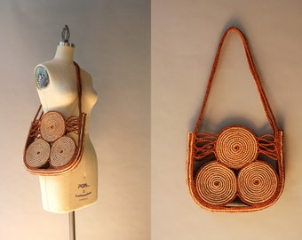1970s Purse / Vintage 70s Braided Straw Bag / 1970s Earth Tone Sisal Shoulder Bag