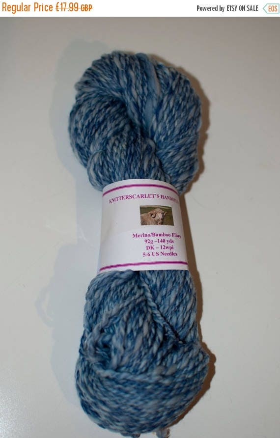 Christmas In July Merino/Bamboo Handspun Yarn in Shades of Blue 92g/140yds