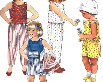 Child's Shorts Pattern 1980s Top Pants Sleeveless McCall's Easy Children's Uncut Vintage Sewing Boy's Girl's Size 2 to 4