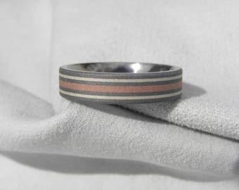 Titanium Ring with Copper and Silver Inlay Stripes, 5mm, size 8, Clearance Listing