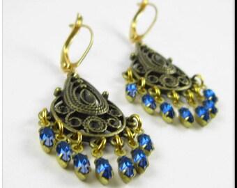 Bronze Filigree Chandelier Earrings, Blue Rhinestone Earrings, Dangle Drop Rhinestone Earrings