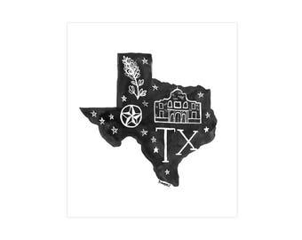 Texas State Print // 1canoe2 // Modern Art Print