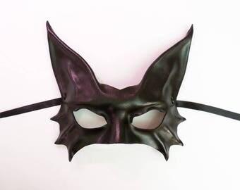 Black Cat Leather Mask costume Halloween masquerade Burning Man average adult size