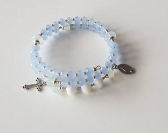 Beaded wrap bracelet| rosary bracelet for women| catholic jewelry| godmother proposal gift| religious gifts| spiritual jewelry| prayer beads