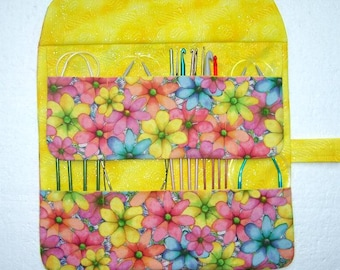 Yellow Circular Knitting Needle Roll Up, Floral Crochet Hook Case, Double Pointed Needle DPN Storage Organizer, Artist Brushes Roll