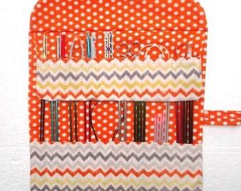 Knitting Needle Roll, Yellow Orange Grey White Crochet Hook Case, Polka Dots DPN Double Pointed Needle Storage Organizer, Brushes Holder