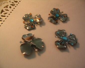 4 Large Flower Finding Layered Starburst Rhinestone Brad Embellishments Jewelry Craft Supplies