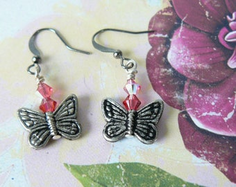 Butterfly Earrings, Antique Silver Butterflies and Pink Crystal Dangles, Swarovski Elements Crystal Jewelry, Gift for Her, Garden Lover Gift