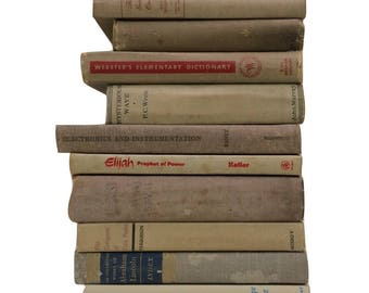 Neutral Shabby Book Stack, One Foot of Books, Distressed Shabby Antique Books, Cloth Bound Books, Book Stack, Home Decor, Instant Library