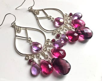 Mixed Berry Earrings, Gemstone earrings, Pink gemstone earrings, Boho chandelier, great gift idea, purple earrings