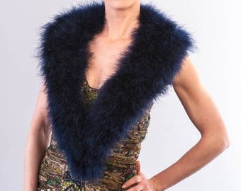 Promo Sale: Navy Blue Marabou Wrap - Collar - Shrug