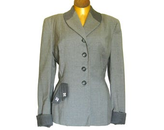 1950s Vintage Gray Wool Suit Jacket / Tailored Jacket with Rhinestone Accents / Vintage Office Clothes / Gray Wool / Franklin Simon New York