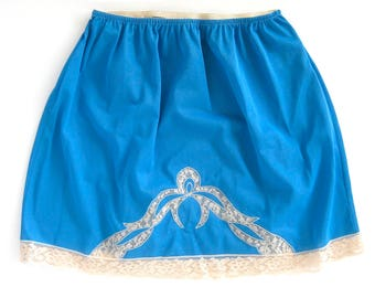 "Vintage Royal Blue Mini Skirt Half Slip with LACE Inset / Lace Hem / 1960's Short Blue Slip / Bright Blue Nylon Tricot Slip / Waist to 32"""